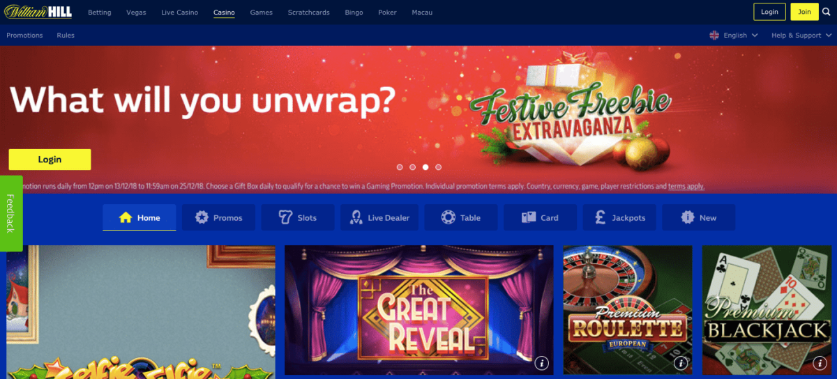 William Hill casino review : a large variety of games